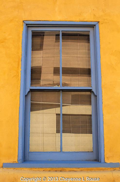 Blue Window and Yellow Adobe - Arizona