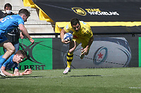 2nd May 2021; Stade Marcel-Deflandre, La Rochelle, France. European Champions Cup Rugby La Rochelle versus  Leinster Semi-Final; Brice DULIN of Stade Rochelais covered by Keenan of Leinster