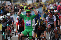 6th July 2021, Albertville, Auvergne-Rhône-Alpes, France;  TOUR DE FRANCE 2021- UCI Cycling World Tour. Stage 10 from Albertville to Valence on the 6th of July 2021, Valence, France.  Mark Cavendish (GBR) DQT celebrates after his victory on the final sprint.
