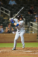 Mesa Solar Sox Zack Short (2), of the Chicago Cubs organization, at bat during an Arizona Fall League game against the Salt River Rafters on September 19, 2019 at Salt River Fields at Talking Stick in Scottsdale, Arizona. Salt River defeated Mesa 4-1. (Zachary Lucy/Four Seam Images)