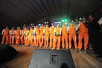 SCHAATSEN: HEERENVEEN: Heerenveen Holland House, 21-03-2012, Teampresentatie NED, Diane Valkenburg, Ireen Wüst, Jorien Voorhuis, Bob de Vries, Thijsje Oenema, Marije Joling, Annouk van der Weijden, Margot Boer, Hein Otterspeer, Jan Smeekens, Ronald Mulder, Michel Mulder, Laurine van Riessen, Douwe de Vries, Jan Blokhuijsen, Sven Kramer, Jan van der Meulen (presentator), ©foto Martin de Jong