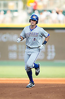 Richie Shaffer (28) of the Durham Bulls rounds the bases after hitting a home run against the Charlotte Knights at BB&T BallPark on July 22, 2015 in Charlotte, North Carolina.  The Knights defeated the Bulls 6-4.  (Brian Westerholt/Four Seam Images)