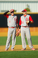 Sam Morgan (1) and Tarran Senay (32) of the North Carolina State Wolfpack chat during a pitching change in the game against the Wake Forest Demon Deacons at Wake Forest Baseball Park on March 16, 2013 in Winston-Salem, North Carolina.  The Demon Deacons defeated the Wolfpack 13-4.  (Brian Westerholt/Four Seam Images)