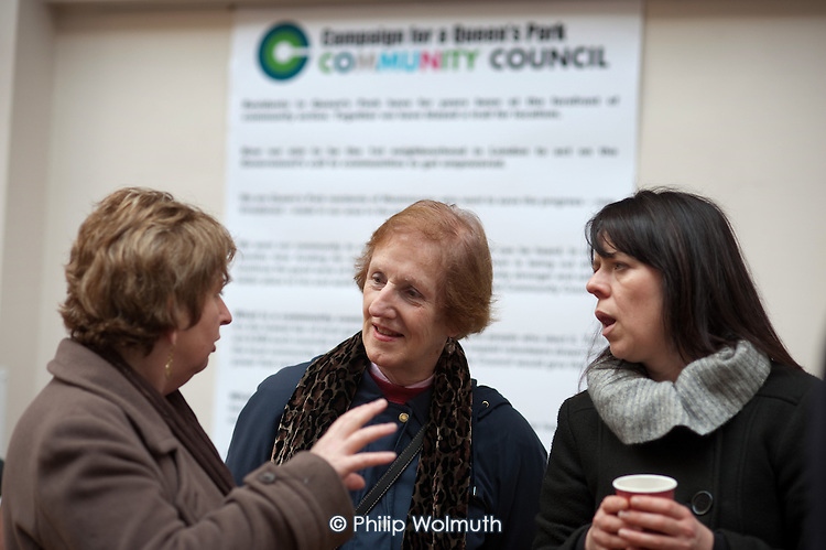 Karen Buck MP speaks to local residents at the launch of the Campaign for a Queen's Park Community Council at the Beethoven Centre, West London.