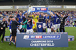 Chesterfield v Fleetwood Town<br /> 3.5.2014<br /> Sky Bet League Two<br /> Picture Shaun Flannery/Trevor Smith Photography<br /> Chesterfield celebrate winning the League 2 title along with promotion.
