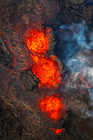 aerial view of lava eruption along linear fissure vents, fountaining several hundred feet into the air, Leilani Estates, Kilauea, Big Island, Hawaii, USA