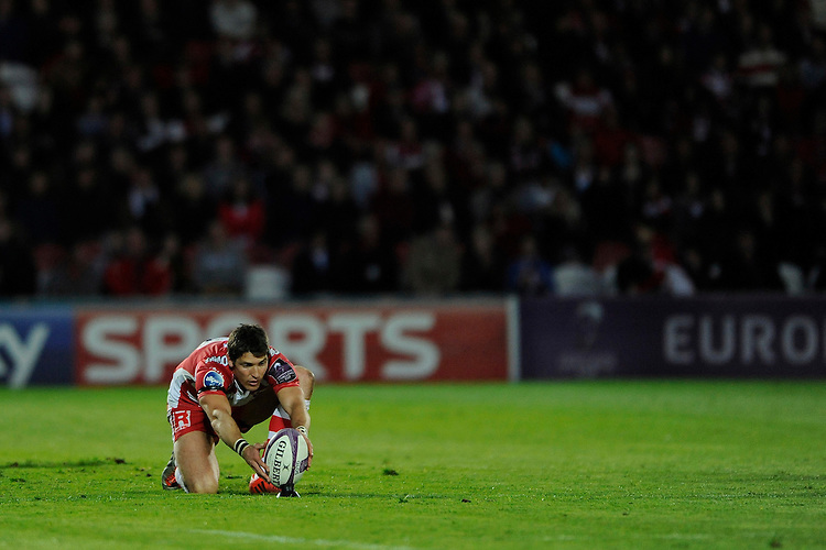 James Hook of Gloucester Rugby prepares to take a penalty kick during the European Rugby Challenge Cup semi final match between Gloucester Rugby and Exeter Chiefs at Kingsholm Stadium on Saturday 18th April 2015 (Photo by Rob Munro)