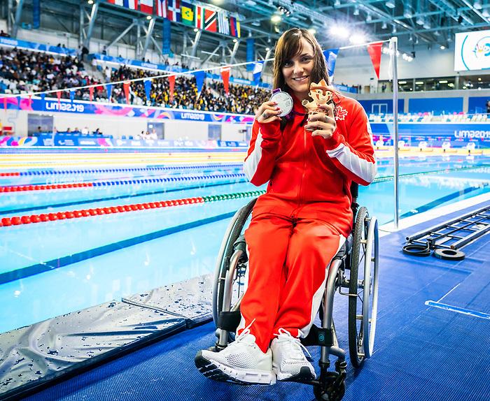 Krystal Shaw, Lima 2019 - Para Swimming // Paranatation.<br /> Krystal Shaw takes the silver medal in women's 100m backstroke S7 // Krystal Shaw remporte la médaille d'argent au 100 m dos féminin S7. 27/08/2019.