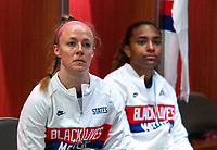 ORLANDO, FL - JANUARY 18: Becky Sauerbrunn #4 and Catarina Macario #29 of the USWNT listen to her coaches before a game between Colombia and USWNT at Exploria Stadium on January 18, 2021 in Orlando, Florida.
