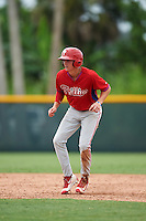 GCL Phillies center fielder Mickey Moniak (15) leads off second during a game against the GCL Pirates on August 6, 2016 at Pirate City in Bradenton, Florida.  GCL Phillies defeated the GCL Pirates 4-1.  (Mike Janes/Four Seam Images)