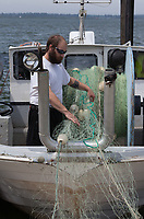 Commercial Fisherman, Steven Nichols, Spooling Net onto Trawler Fishing Boat, Astoria Marina, Oregon, USA.