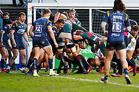 6th February 2021; Mattoli Woods Welford Road Stadium, Leicester, Midlands, England; Premiership Rugby, Leicester Tigers versus Worcester Warriors; Tom Youngs of Leicester Tigers carries the ball as a Leicester Tigers maul goes over for Leicester's fourth try
