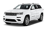 2018 Jeep Grand-Cherokee Summit 5 Door SUV angular front stock photos of front three quarter view
