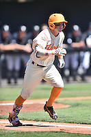 Tennessee Volunteers catcher Tyler Schultz (14) runs to first during a game against the Vanderbilt Commodores at Lindsey Nelson Stadium on April 24, 2016 in Knoxville, Tennessee. The Volunteers defeated the Commodores 5-3. (Tony Farlow/Four Seam Images)