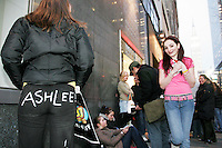 Ashlee Simpson fans wait in line to see her perform at the Hammerstein Ballroom in New York City on March 16, 2005.