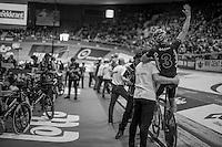 Kenny De Ketele (BEL/TopsportVlaanderen-Baloise) greeting teh crowd ahead of the derny race<br /> <br /> 2016 Gent 6<br /> day 6