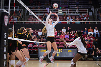 STANFORD, CA - November 15, 2017: Jenna Gray, Tami Alade at Maples Pavilion. The Stanford Cardinal defeated USC 3-0 to claim the Pac-12 conference title.