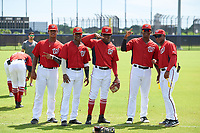 GCL Nationals (L-R) Frailin Turbi, Junior Martina, Wilfrido Matos, Leandro Emiliani, and Jaylen Hubbard before  a Gulf Coast League game against the GCL Astros on August 9, 2019 at FITTEAM Ballpark of the Palm Beaches training complex in Palm Beach, Florida.  GCL Nationals defeated the GCL Astros 8-2.  (Mike Janes/Four Seam Images)