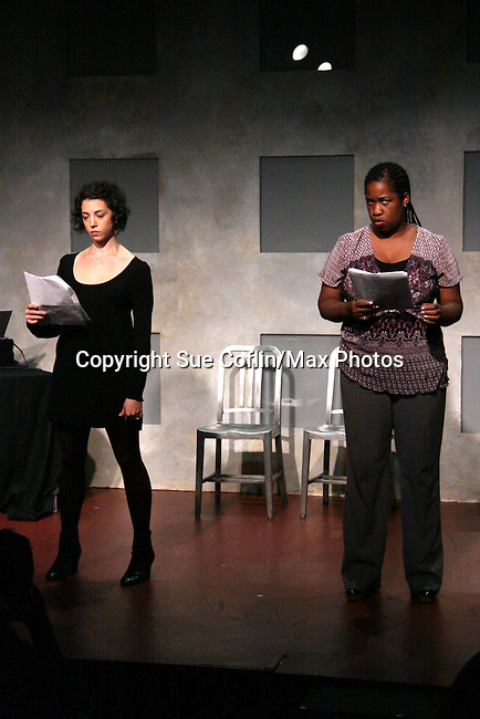 """Cecily Benjamin and Amanda Sayle stars in """"Verbatim Verboten - NYC"""" on October 18, 2010 at the WorkShop Theater, NYC. (Photo by Sue Coflin/Max Photos)"""