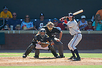 Mississippi Braves shortstop Dansby Swanson (36) at bat in front of catcher Francisco Arcia and umpire Alex MacKay during a game against the Jacksonville Suns on May 1, 2016 at The Baseball Grounds in Jacksonville, Florida.  Jacksonville defeated Mississippi 3-1.  (Mike Janes/Four Seam Images)