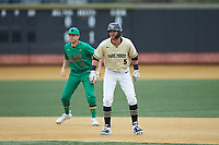 Patrick Frick (5) of the Wake Forest Demon Deacons takes his lead off of second base against the Notre Dame Fighting Irish at David F. Couch Ballpark on March 10, 2019 in  Winston-Salem, North Carolina. The Demon Deacons defeated the Fighting Irish 7-4 in game one of a double-header.  (Brian Westerholt/Four Seam Images)