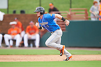Akron RubberDucks left fielder Clint Frazier (4) running the bases during the first game of a doubleheader against the Bowie Baysox on June 5, 2016 at Prince George's Stadium in Bowie, Maryland.  Bowie defeated Akron 6-0.  (Mike Janes/Four Seam Images)