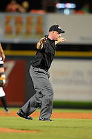Umpire James Rackley makes a call during a game between the Bradenton Marauders and St. Lucie Mets on April 12, 2013 at McKechnie Field in Bradenton, Florida.  St. Lucie defeated Bradenton 6-5 in 12 innings.  (Mike Janes/Four Seam Images)