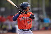 Houston Astros JC Correa (57) bats during a Minor League Spring Training game against the Washington Nationals on April 27, 2021 at FITTEAM Ballpark of the Palm Beaches in Palm Beach, Fla.  (Mike Janes/Four Seam Images)