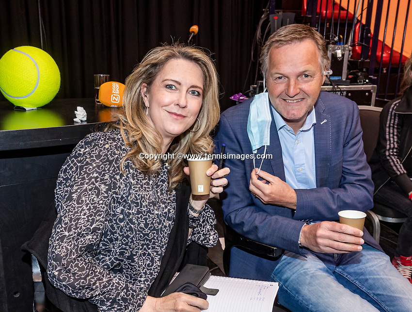 Den Bosch, The Netherlands, April 17, 2021,    Maaspoort, Billie Jean King Cup  Netherlands -  China , Kristie Boogert  (NED) and Tjerk Bogtstra (NED)<br /> Photo: Tennisimages/Henk Koster