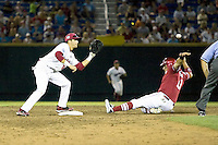 South Carolina SS Bobby Haney in Game 10 of the NCAA Division One Men's College World Series on June 24th, 2010 at Johnny Rosenblatt Stadium in Omaha, Nebraska.  (Photo by Andrew Woolley / Four Seam Images)