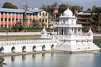 Kathmandu, Nepal.  Rani Pokhari, the Queen's Pond, with Shrine to Shiva.
