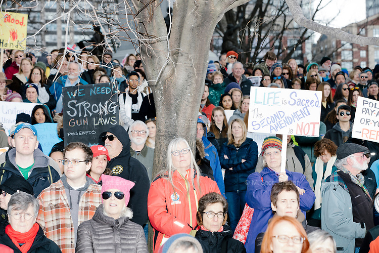 """People gather during the March For Our Lives protest and demonstration in Boston Common in Boston, Massachusetts, USA, on Sat., March 24, 2018. The march was held in response to recent school gun violence. Signs visible read, """"We need strong gun laws / Pass ERPOs"""" and """"Life is Sacred. / The second amendment is not.""""  """"ERPOs"""" is a reference to Extreme Risk Protection Orders, which are sometimes known as gun violence restraining orders."""