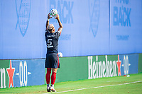 LAKE BUENA VISTA, FL - JULY 14: Francisco Calvo #5 of the Chicago Fire throws the ball during a game between Seattle Sounders FC and Chicago Fire at Wide World of Sports on July 14, 2020 in Lake Buena Vista, Florida.