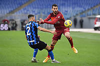 Achraf Hakimi of Inter and Leonardo Spinazzola of Roma  during the Serie A football match between AS Roma and FC Internazionale at Olimpico stadium in Roma (Italy), January 10th, 2021. Photo Andrea Staccioli / Insidefoto