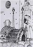 """Mstislav Dobuzhinsky (1875–1957)<br /> Bridge in a fantastic style. <br /> Sketch of the landscape from the series """"Urban Dreams"""" 1913. Paper, graphite and color pencil."""