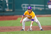 LSU Tigers third baseman Conner Hale (20) on defense against the TCU Horned Frogs in Game 10 of the NCAA College World Series on June 18, 2015 at TD Ameritrade Park in Omaha, Nebraska. TCU defeated the Tigers 8-4, eliminating LSU from the tournament. (Andrew Woolley/Four Seam Images)