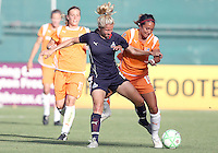 Rebecca Moros #19 of Washington Freedom battles with Mele French #19 of Sky Blue FC during a WPS match at RFK Stadium on May 23, 2009 in Washington D.C. Freedom won the match 2-1