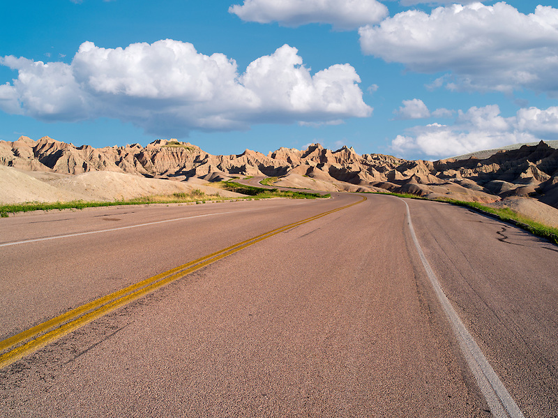 Road through Badlands National Park, South Dakota