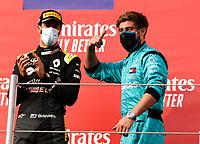 1st November 2020, Imola, Italy; FIA Formula 1 Grand Prix Emilia Romagna, Race Day;  Leo Stevens Mercedes-AMG Petronas Formula One Team celebrates the teams win on the podium