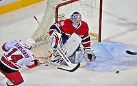 21 December 2008: Montreal Canadiens' goaltender Carey Price watches a centering pass by Carolina Hurricanes' left wing forward Sergei Samsonov from Russia leading to a goal by the Carolina Hurricanes in the second period at the Bell Centre in Montreal, Quebec, Canada. The Hurricanes defeated the Canadiens 3-2 in overtime. ***** Editorial Sales Only ***** Mandatory Photo Credit: Ed Wolfstein Photo