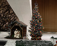 Il presepe e l'albero di Natale durante l'Udienza Generale del mercoledì in aula Paolo VII, Città del Vaticano, 7 dicembre 2016.<br /> A traditional Crib and a Christmas tree during the weekly general audience in Paul VI Hall at the Vatican on December 7, 2016. <br /> UPDATE IMAGES PRESS/Isabella Bonotto<br /> <br /> STRICTLY ONLY FOR EDITORIAL USE