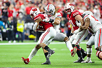 Indianapolis, IN - December 7, 2019: Ohio State Buckeyes defensive end Chase Young (2) tackles Wisconsin Badgers running back Jonathan Taylor (23) during the Big Ten championship game Wisconsin and Ohio St. at Lucas Oil Stadium in Indianapolis, IN.   (Photo by Elliott Brown/Media Images International)