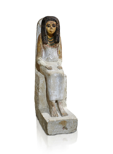 Female ancient Egyptian statue, New Kingdom, 18th Dynasty, (1480-1390 BC), Thebes Necropolis. Egyptian Museum, Turin. white background. Drovetti collection.
