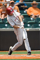 Outfielder Ricky Eisenberg #10 of the Oklahoma Sooners connects against the Texas Longhorns in NCAA Big XII baseball on May 1, 2011 at Disch Falk Field in Austin, Texas. (Photo by Andrew Woolley / Four Seam Images)