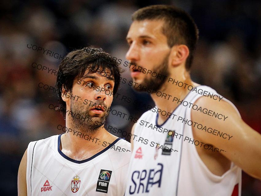 Kosarka-Basketball<br /> Srbija v Grcka-Prijateljski Mec<br /> Milos Teodosic (L) and Stefan Bircevic<br /> Beograd, 28.06.2016.<br /> foto: Srdjan Stevanovic/Starsportphoto ©