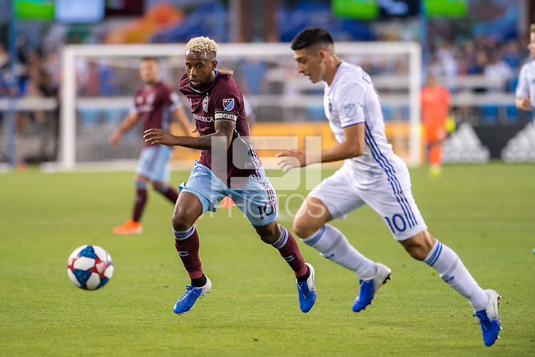 SAN JOSÉ CA - JULY 27: Kellyn Acosta #10 and Cristian Espinosa #10 during a Major League Soccer (MLS) match between the San Jose Earthquakes and the Colorado Rapids on July 27, 2019 at Avaya Stadium in San José, California.ya Stadium in San José, California.