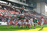 9th October 2021; Brentford Community Stadium, Brentford, London; Gallagher Premiership Rugby, London Irish versus Leicester Tigers; Steve Mafi of London Irish catches the ball from a line out