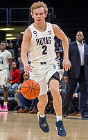 WASHINGTON, DC - JANUARY 28: Mac McClung #2 of Georgetown moves up court during a game between Butler and Georgetown at Capital One Arena on January 28, 2020 in Washington, DC.