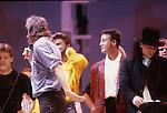 Live Aid 1985 Wembley Stadium, London , England. Paul McCartney, Bob Geldolf, George Michael, Andrew Ridgeley, Bono