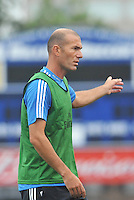 Saint Louis, MO August 1 2013<br /> Assistant coach Zinedine Zidane.<br /> Real Madrid practiced at Herman Stadium on the campus of Saint Louis University ahead of their international friendly with Inter Milan at the Edward Jones Dome.